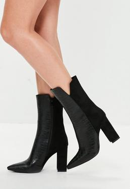 Black Snake Front Heeled Ankle Boot
