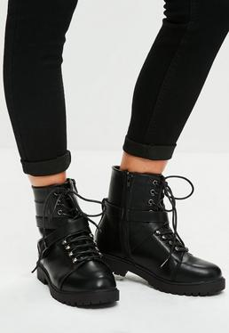 Black Faux Leather Biker Boots