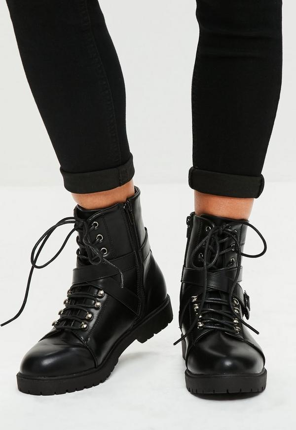Black Faux Leather Biker Boots Missguided
