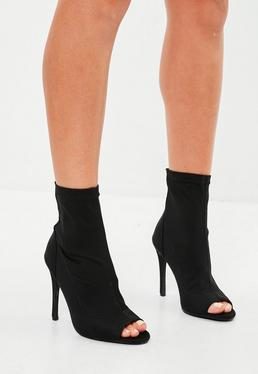 Black Peep Toe Neoprene Boots
