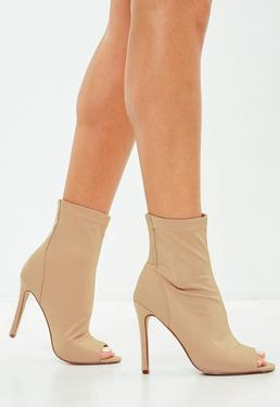 Nude Neoprene Peep Toe Boots