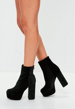 Black Velvet Platform Ankle Boots