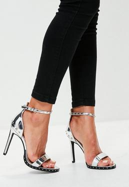 Silver Studded Barely There Heels
