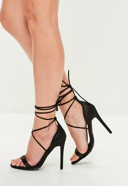 Black Satin Lace Up Barley There Heels