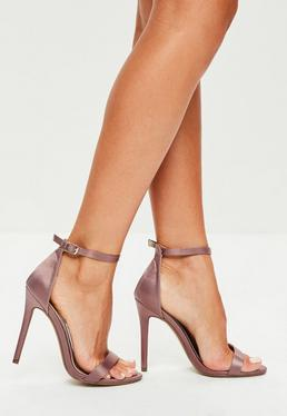 Purple Strappy Satin Barely There Heels