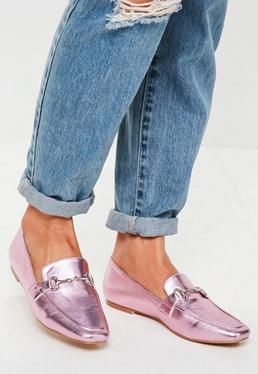 Pink Metallic Buckle Loafers