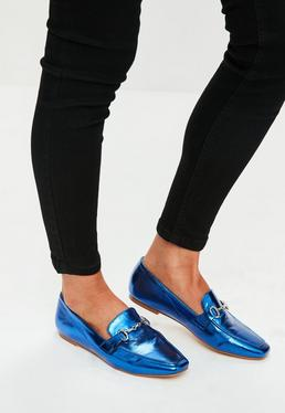 Blue Metallic Buckle Loafers