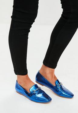 Blue Metallic Buckle Loafers