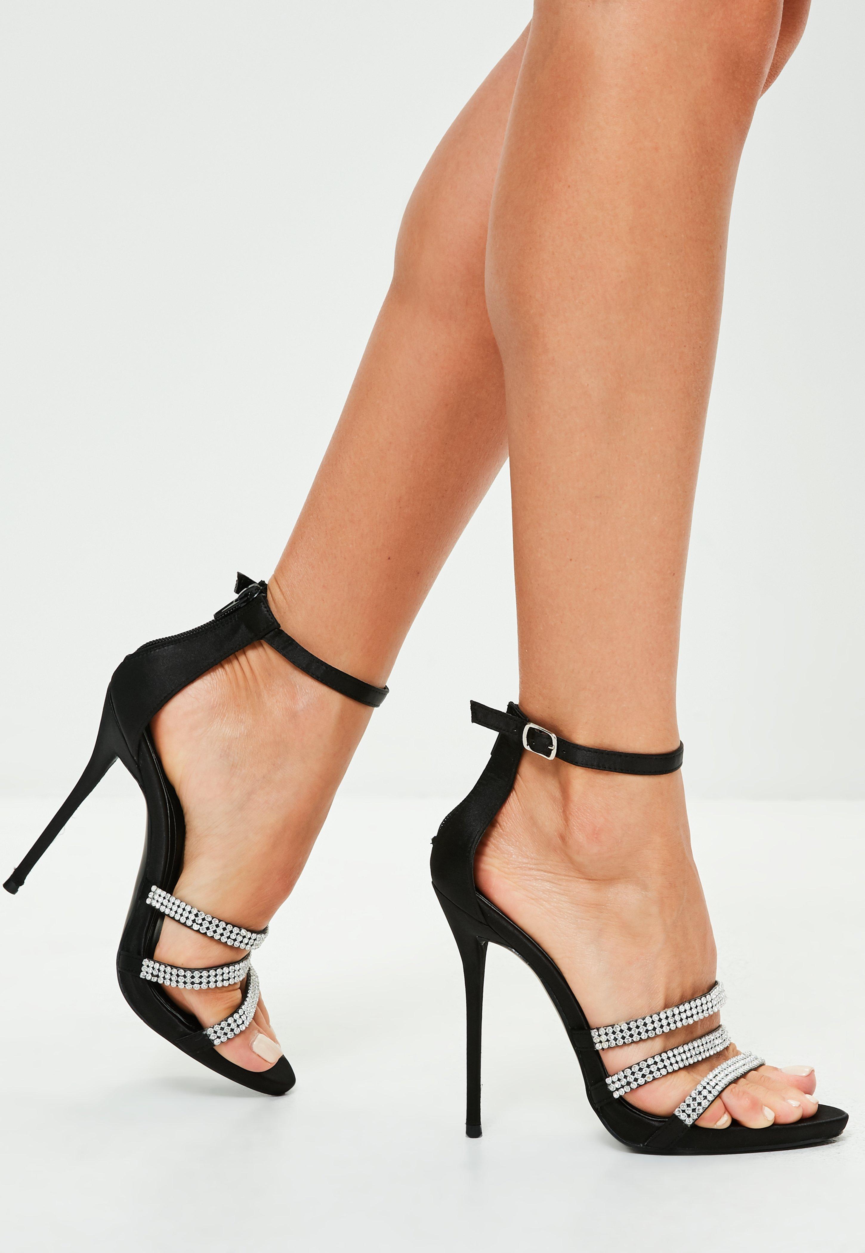 Black Three Strap Embellished Heeled Sandals | Missguided