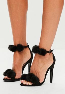 Black Pom Pom Double Strap Heeled Sandals