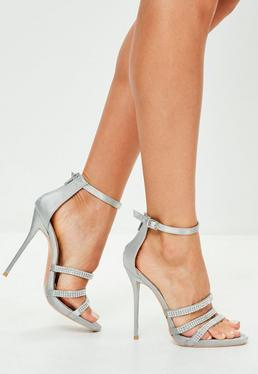 Silver Three Strap Embellished Heeled Sandals