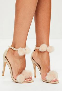 Nude Pom Pom Double Strap Heeled Sandals