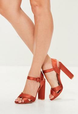 Orange Satin Cross Strap Heeled Sandal