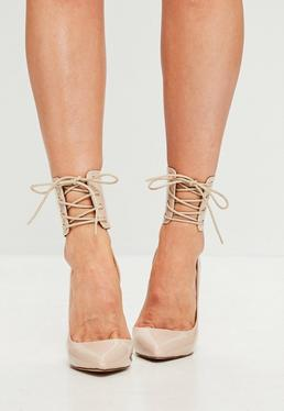 Nude Lace Up Ankle Cuff Pumps
