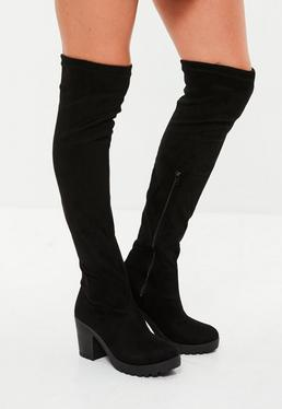 Black Faux Suede Over The Knee Boot