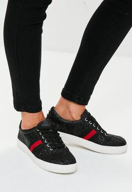 Black Glitter Lace Up Trainers