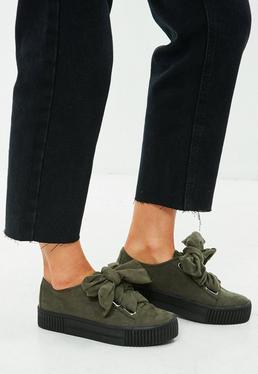 Khaki Faux Suede Platform Lace Up Sneakers