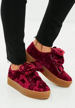 Burgundy Velvet Lace Up Trainers