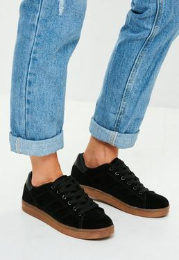 Black Faux Suede Contrasting Sole Sneakers