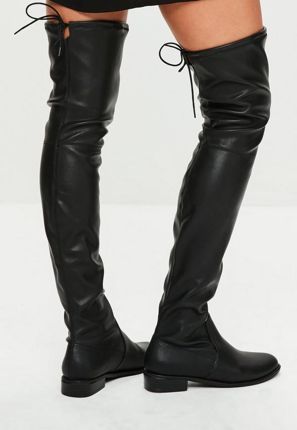 Black Faux Leather Flat Over The Knee Boots Missguided