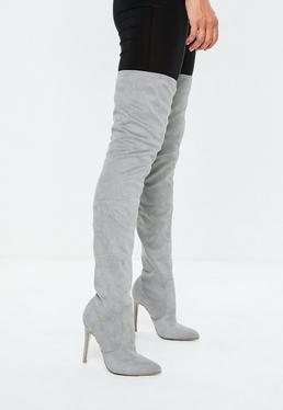 Grey Pointed Over the Knee Boots