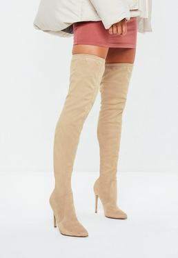 Nude Pointed Over The Knee Faux Suede Boots