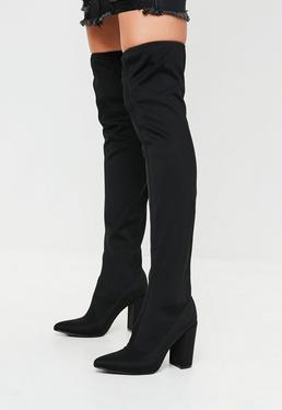 Black Pointed Neoprene Over The Knee Boots