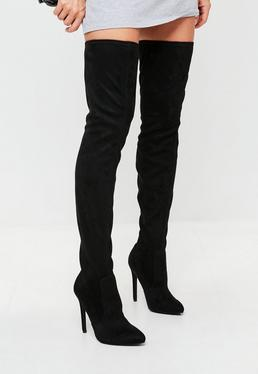 Black Pointed Over The Knee Faux Suede Boots