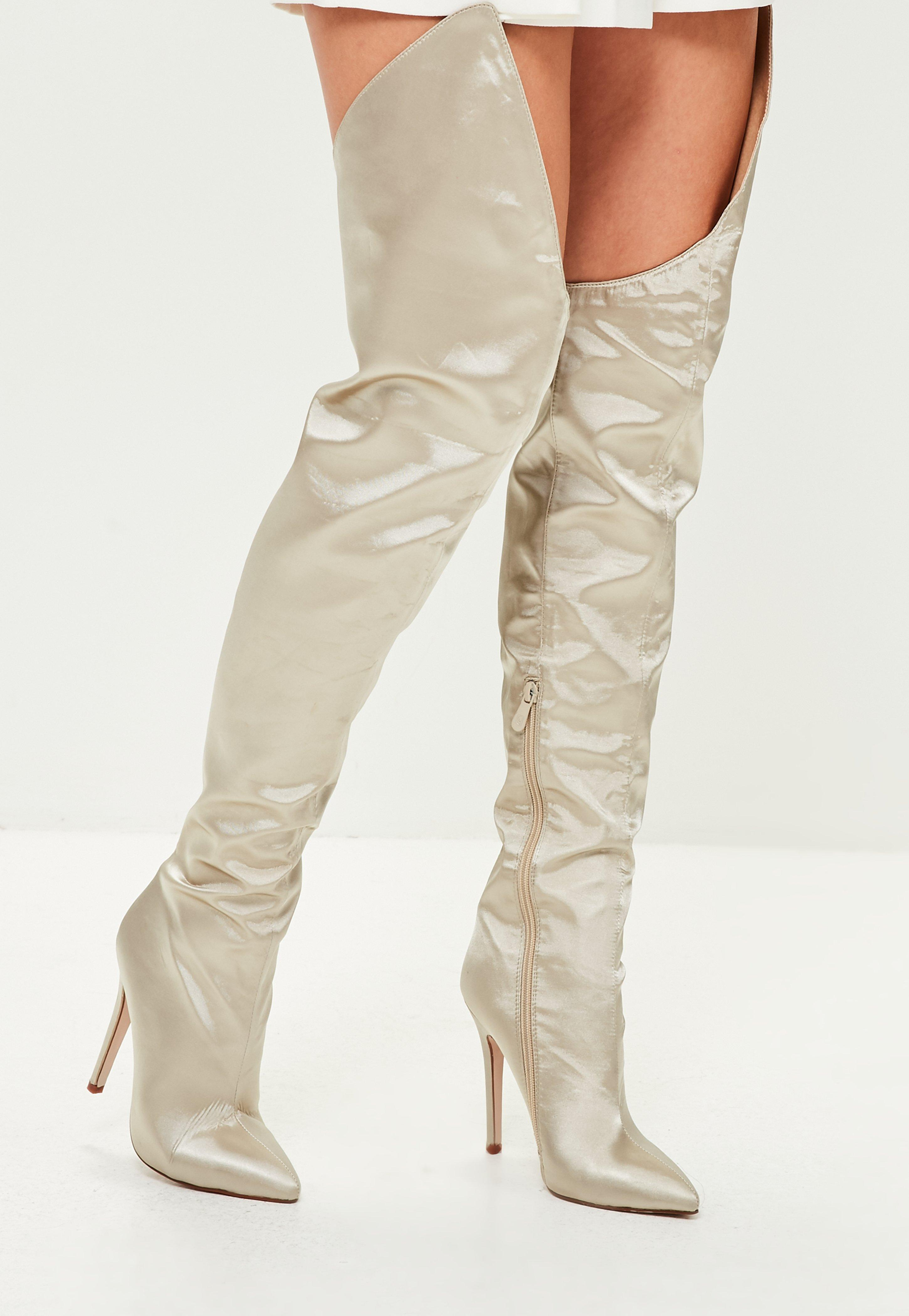 Beige Satin Over The Knee Boots