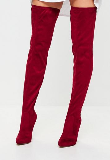 Red Pointed Over The Knee Faux Suede Boots Missguided
