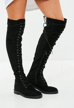 Czarne wiązane kozaki z kolano