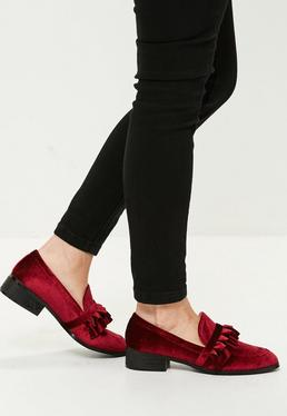 Burgundy Velvet Frill Loafer
