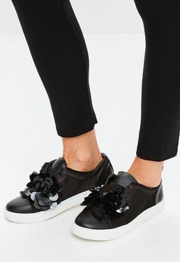 Black Satin Flower Slip On Sneakers