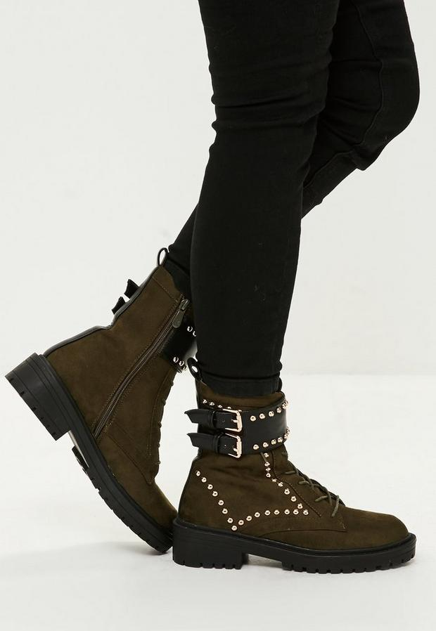 Product photo of Khaki double buckle studded ankle boots beige