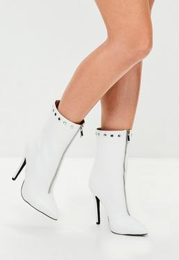 White Dome Faux Leather Pointed Ankle Boots