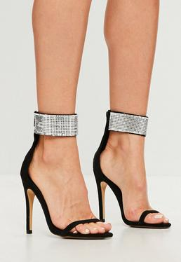 Black Chain Mail Cuff Barely There Sandals