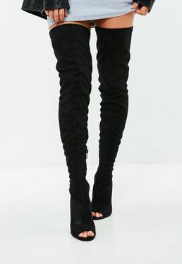 Black Faux Suede Peep Toe Boots