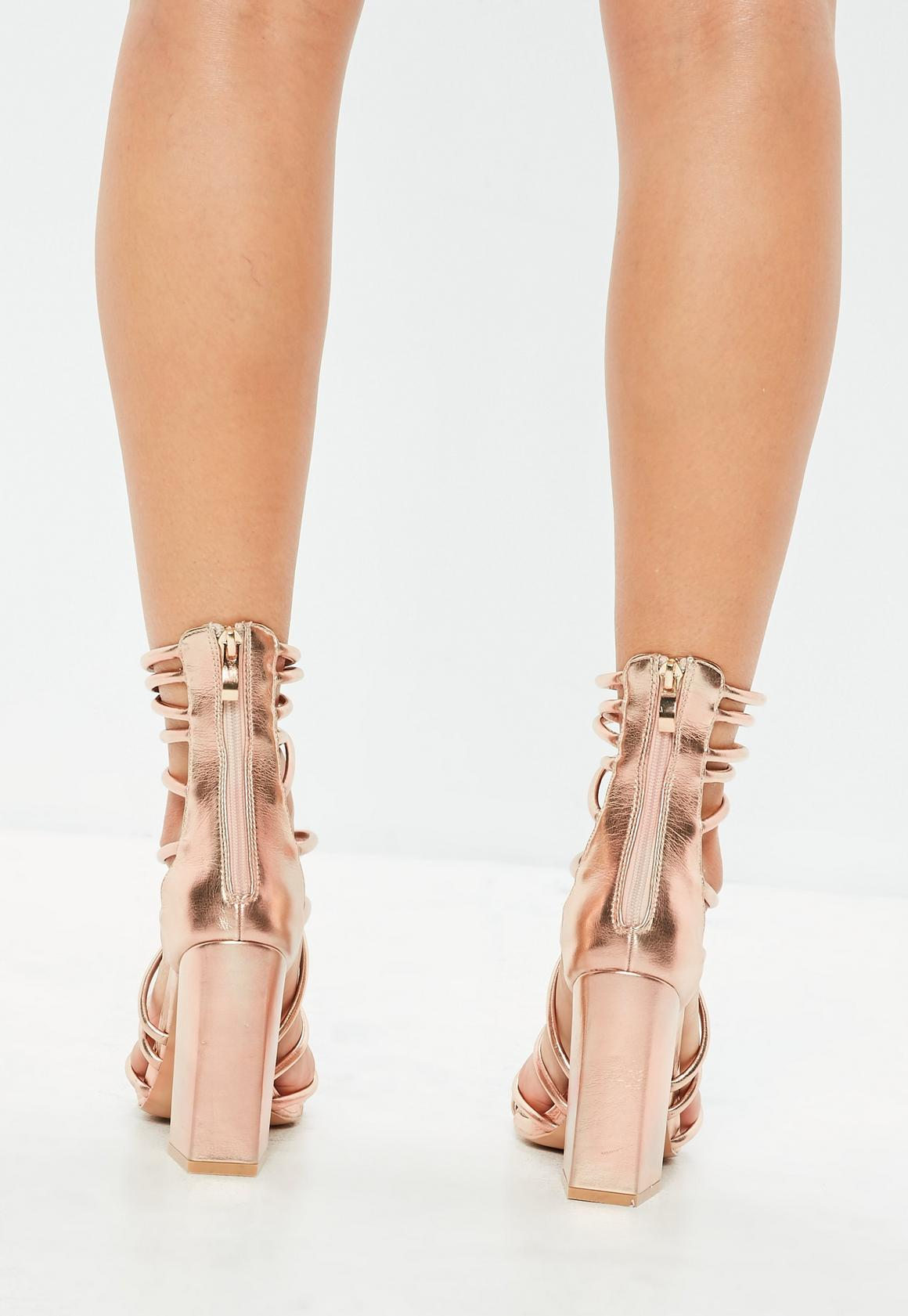 f23127ee798 Missguided - Rose Gold Metallic Flared Block Heel Strappy Gladiator Sandals