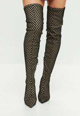 Nude Extreme Pointed Fishnet Over The Knee Boots