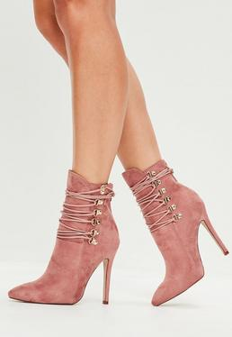 Pink Pointed Toe Ankle Boots
