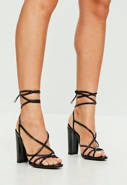 Black Curved Vinyl Sandal Heels