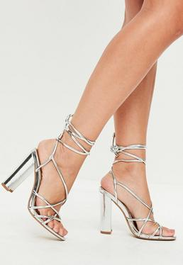 Silver Curved Heel Multi Strap Sandals