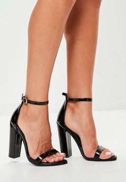 Black Block Heel Barley There Sandals