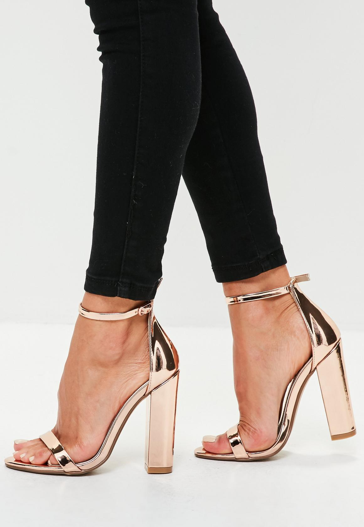Rose Gold Barely There Block Heels | Missguided