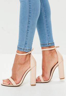Nude Block Heel Barely There Sandals