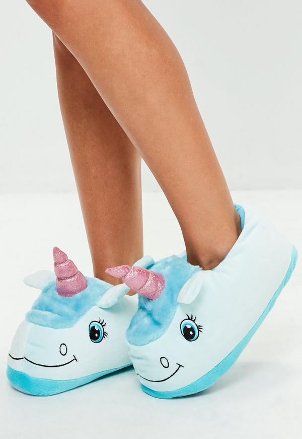 blue unicorn slippers missguided. Black Bedroom Furniture Sets. Home Design Ideas