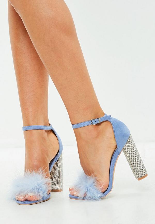 blaue high heel sandalen mit strass absatz missguided. Black Bedroom Furniture Sets. Home Design Ideas