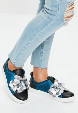 Navy Satin Flower Slip On Sneakers
