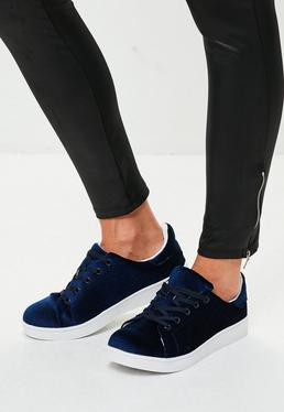 Blue Velvet Lace Up Sneakers