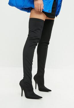 Black Extreme Pointed Over The Knee Boots